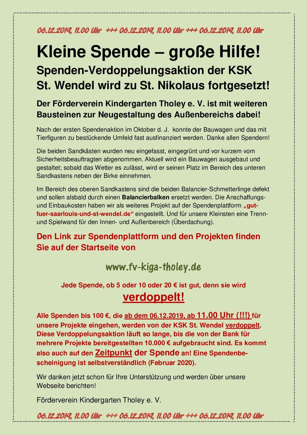 Spendenverdoppelungsaktion der KSK St. Wendel am 06.12.2019
