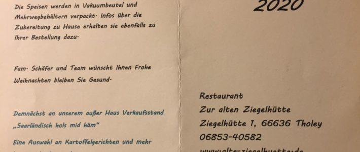 """Weihnachtsmenüs des Restaurants """"Zur alten Ziegelhütte"""""""